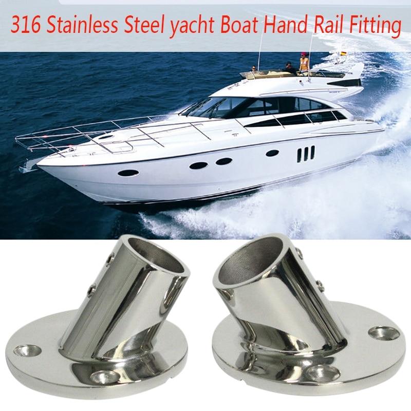 """30 Degree Rectangular Base 316 Stainless Steel Boat Hand Rail Fitting 7//8/"""""""