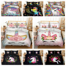 Rainbow Unicorn Bedding Set 3D Cartoon Unicorn Duvet Cover Home Textiles Bedclothes 3-Piece Dropshipping(China)