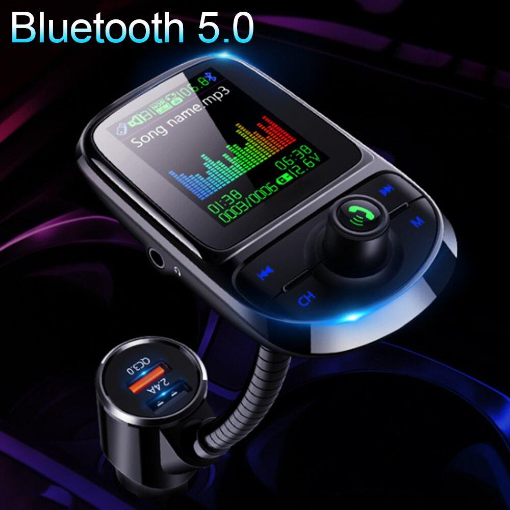 Wireless Bluetooth V5.0 FM Transmitter Car Audio Radio Adapter Kit USB Charger