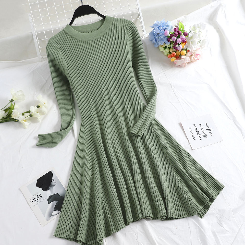 Women Long Sleeve Sweater Dress Women's Irregular Hem Casual Autumn Winter Dress Women O-neck A Line Short Mini Knitted Dresses 6