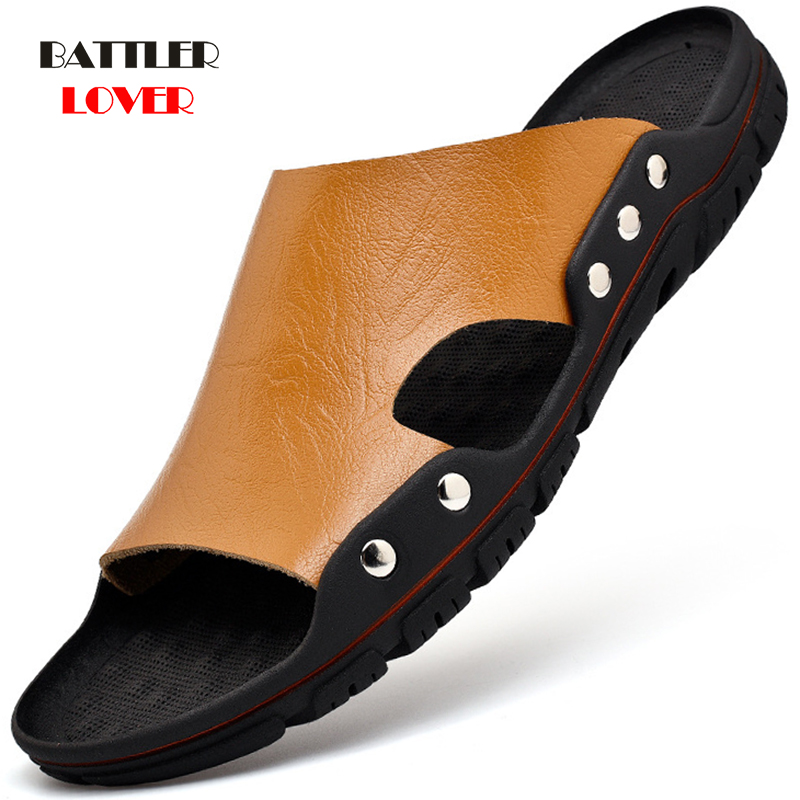 2020 New Men Slippers Summer Flats Man Genuine Leather Sandals Breathable Beach Slipper Cow Leather Flip Flops Mens Slippers