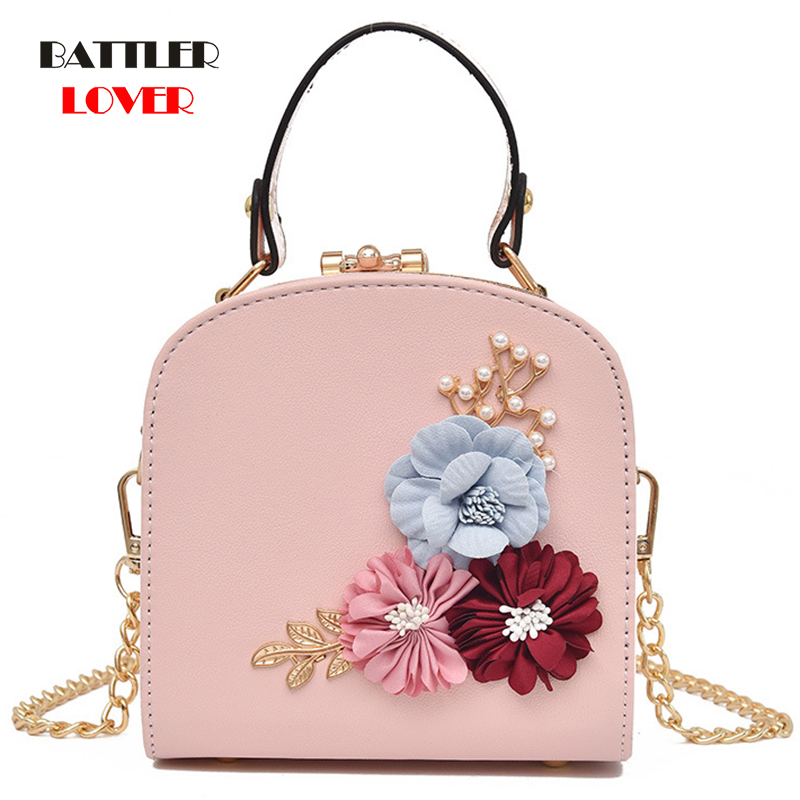 2020 Handmade Flowers Bucket Bags Women Mini Shoulder Bags With Chain Drawstring Small Cross Body Bags Pearl Bags Leaves Decals