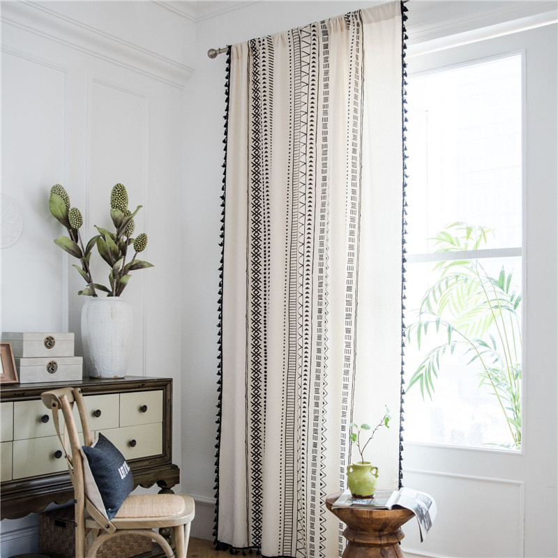 Cotton Linen Printing Black Tassel Bohemian Kitchen Country Style Window Curtain title=