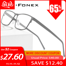 FONEX Eye-Glasses Eyewear Titanium-Glasses-Frame Myopia Prescription Pure Men for Square