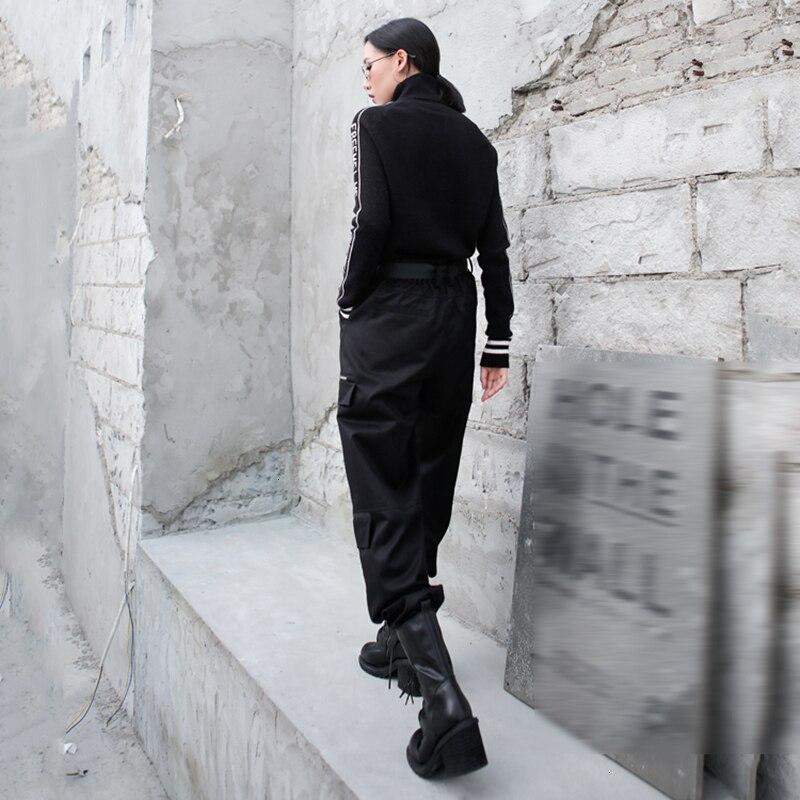 High Elastic Waist Black Pocket Zipper Long Harem Trousers New Loose Fit Pants Women Fashion Tide Spring Autumn 2020