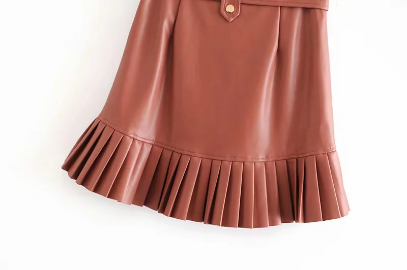 Stylish Chic Pu Leather Mini Skirt with Belt Za Fashion Women High Waist Pleated Hem Skirts Casual Streetwear Party Faldas 19