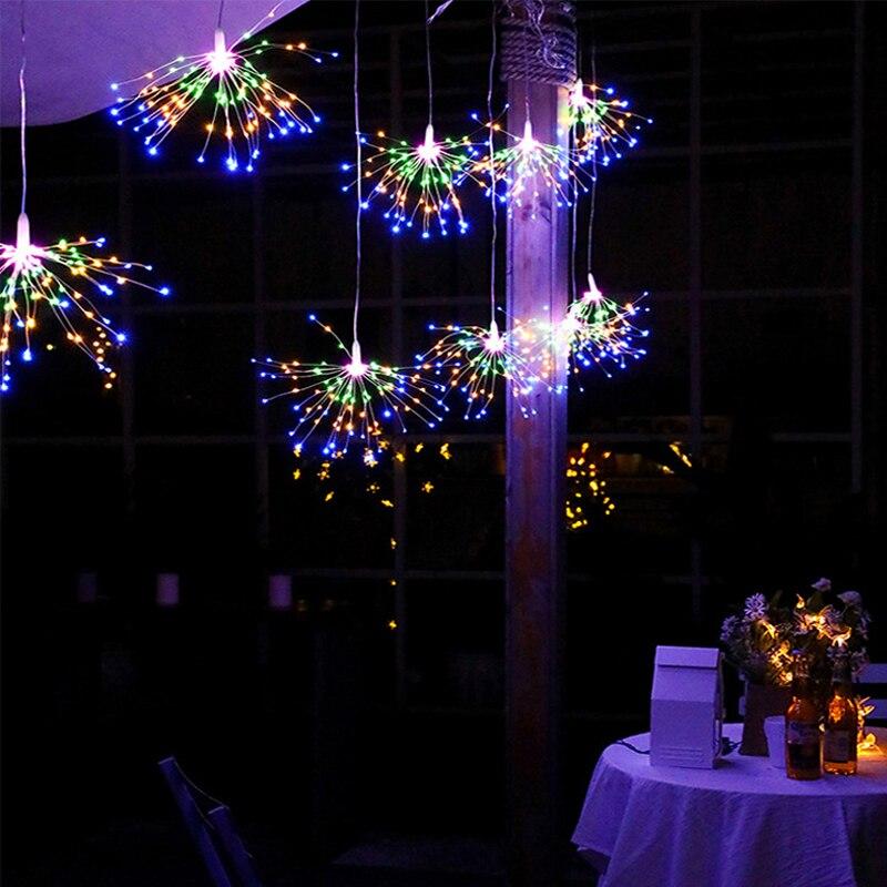 Festival Hanging Starburst String Lights 100/200 DIY Firework Copper Fairy Garland Christmas lights outdoor Twinkle Light