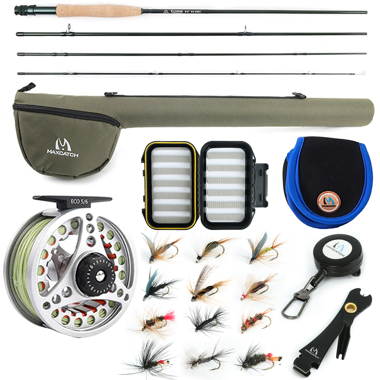 Maximumcatch Fly-Rod Cordura Fly-Fishing-Combo Triangle with Tube 3-8WT Pre-Spooled Medium-Fast title=