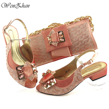Italian Shoes Soft-Heel African Clutch-Bag Peach Matching-Set Wedding Latest And WENZHAN