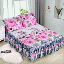 Pillowcase Bedding-Set Bedspread Bed-Skirt King-Queen-Size Double-Layer Sanding Soft