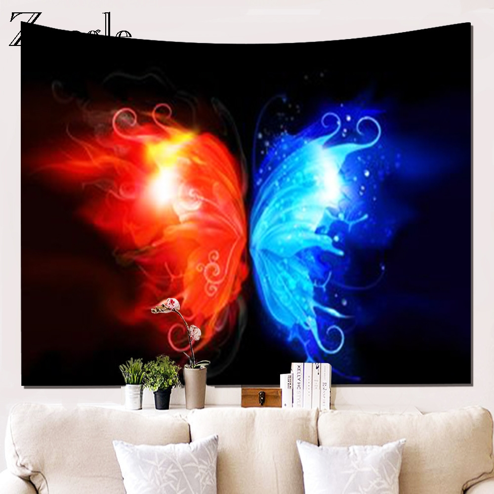 Zeegle Butterfly Pattern Wall Hanging Tapestry Home Office Living Room Art Tapestry Bed Account Beach Towel Picnic Blanket