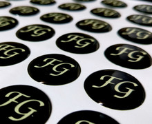 Custom Rectangle Adhesive Epoxy Resin black dome Stickers ---DH6059(China)