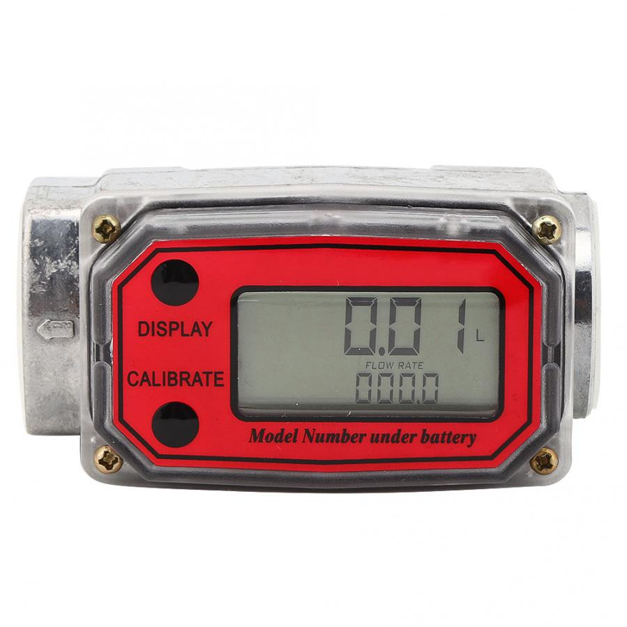 Digital  Flowmeter 15-120L  Fuel  Tester NPT Indicator Sensor Counter Liquid Water  Measure Tools