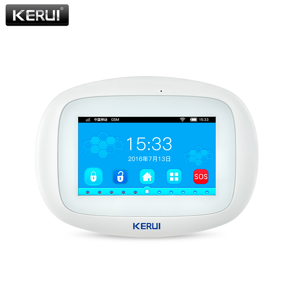 KERUI Alarm-Systems Host Burglar-Alarm Color-Display Residential K52 WIFI GSM Smart Security Home title=
