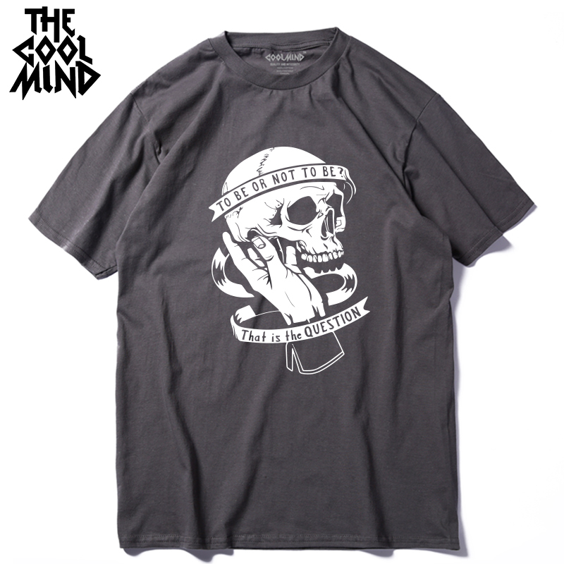 COOLMIND 100% cotton o-neck loose cool skull print men t shirt casual summer loose o-neck men Tshirt t-shirt tee shirt
