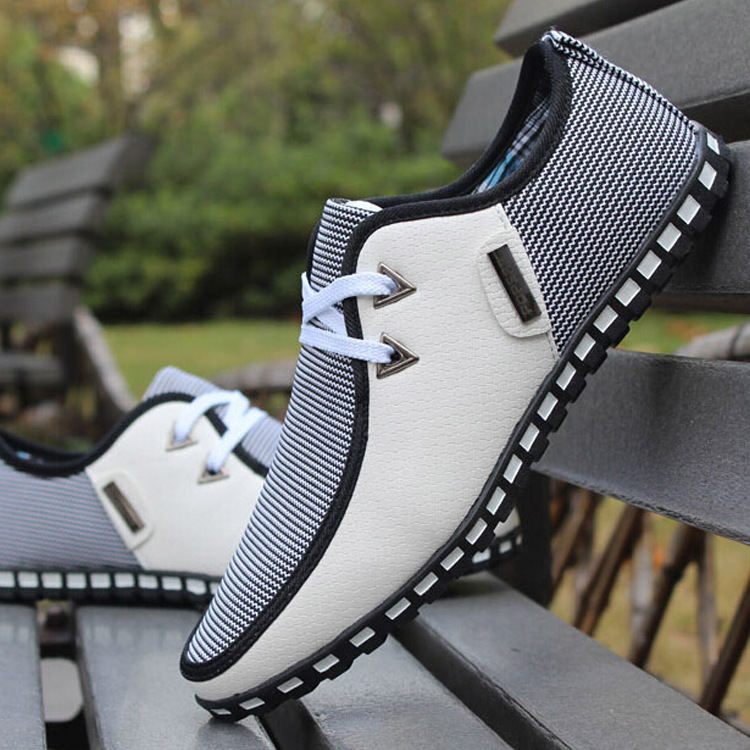 Casual Shoes Sneakers Mans-Footwear Lace-Up Fashion PU Mixed-Color Comfortable Men title=