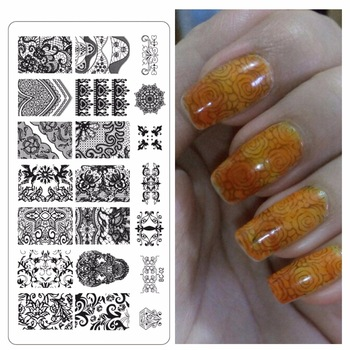 ZKO New Flower Lace Nail Stamping Plates Stainless Steel Nails Art Stamp Template Nails Tools