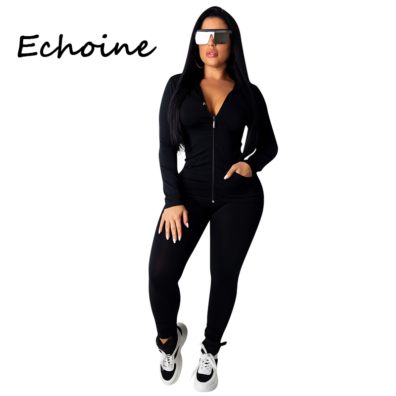 Pants Suit Outfits Sportwear Hooded Zipper Top Two-Piece-Set Jogging Femme Plus-Size title=