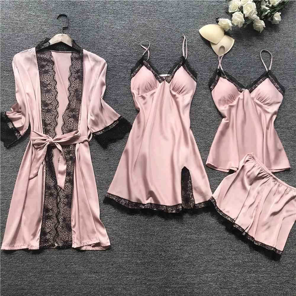 Set Two Pieces Babydoll Satin Dressing Gown Lingerie Petticoat New A-78
