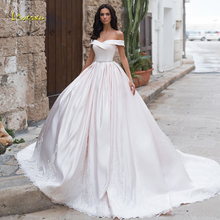 Wedding-Dresses Boat Loverxu Bridal-Gowns Beaded Court-Train Satin Vintage Princess Luxury