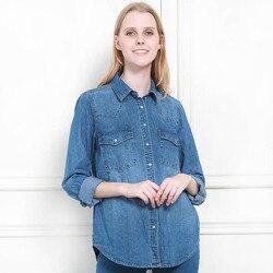 Осень-зима 11,11, женская джинсовая Базовая рубашка, свободная, повседневная, длинный рукав, с 2 карманами, 100% хлопок, вымытая, синяя, женская бл...