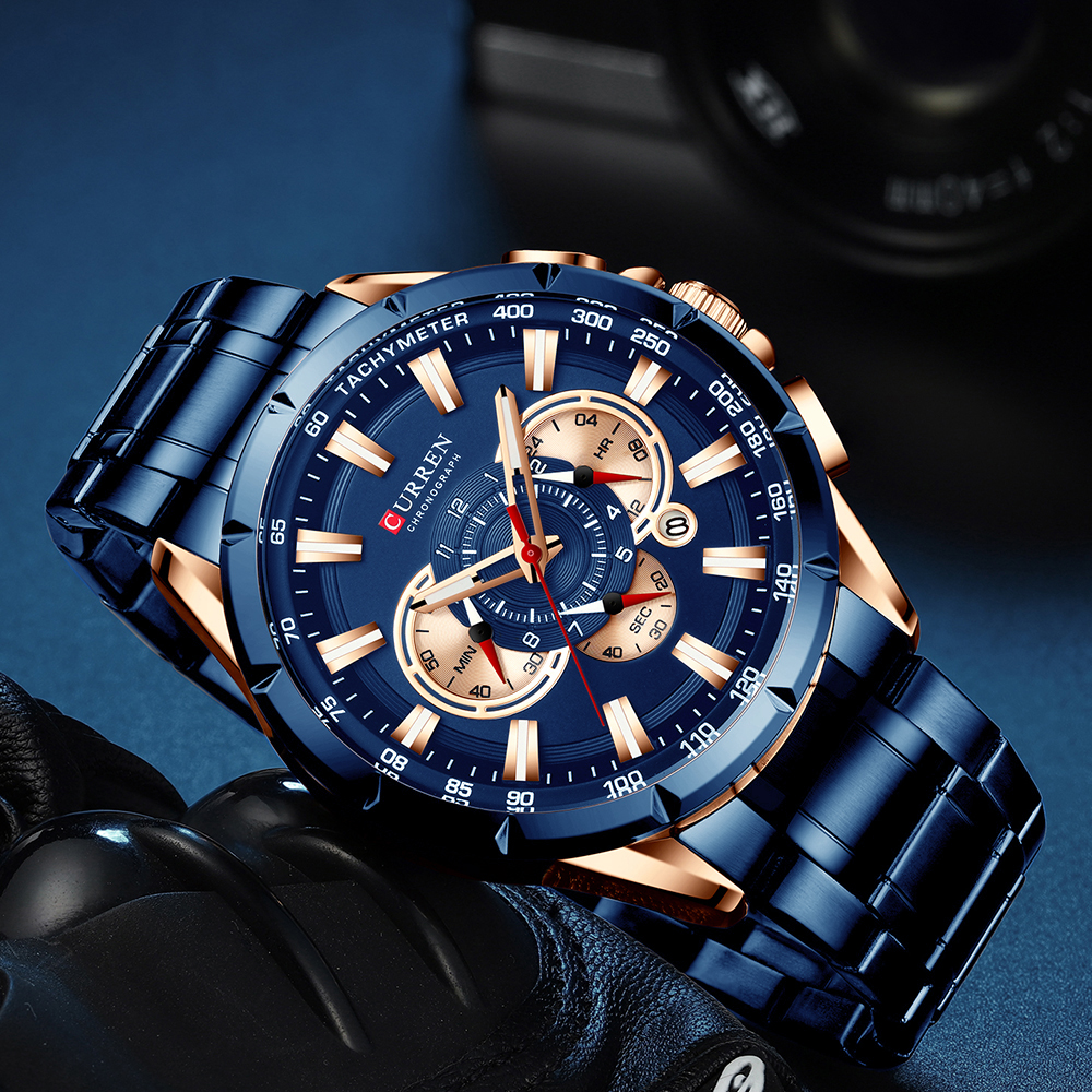 Sports Watches Men's Luxury Brand CURREN Stainless Steel Quartz Watch Chronograph Date Wristwatch Fashion Business Male Clock