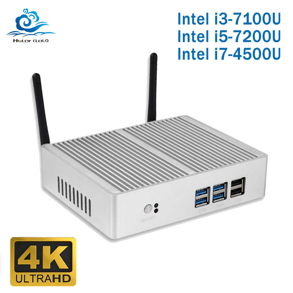 Дешевый Intel Core i5 7200U i3 7100U мини-ПК без вентилятора Windows 10 Barebone компьютер PC DDR3 2,40 GHz 4K HTPC WiFi HDMI VGA USB