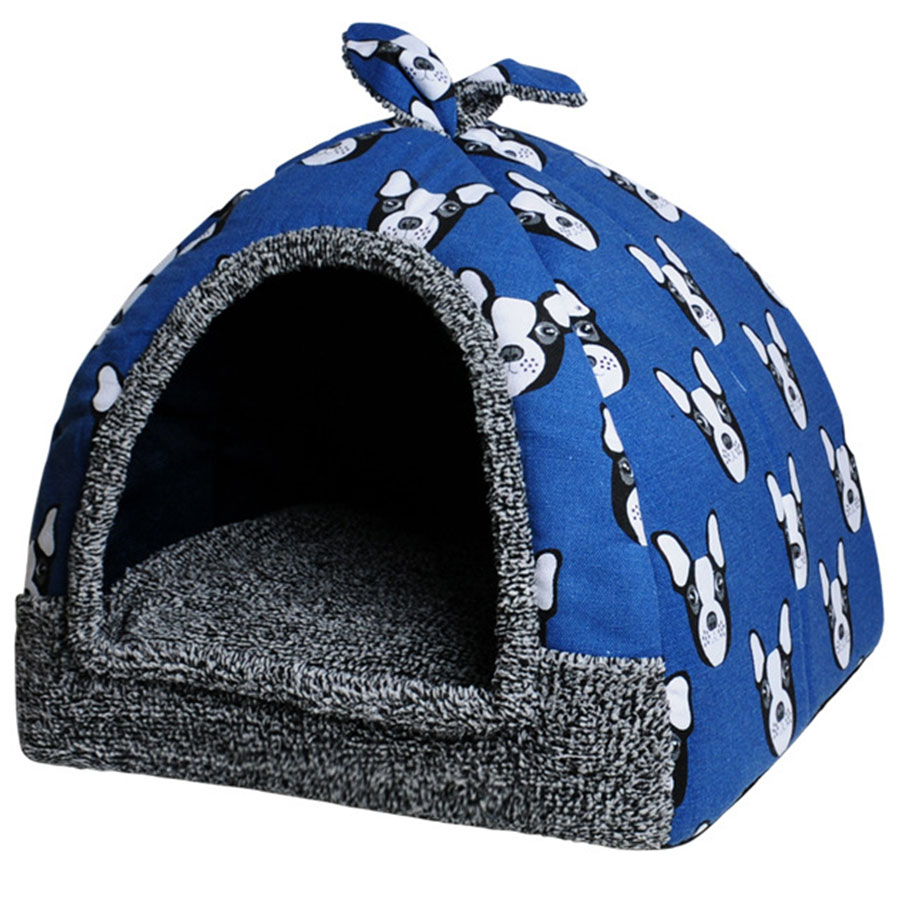 Den - Cat House Foldable Lovely Printing Warm Cozy for Cats Dogs Nest Collapsible Cat Cave Cute Sleeping Mats Winter Pet Products