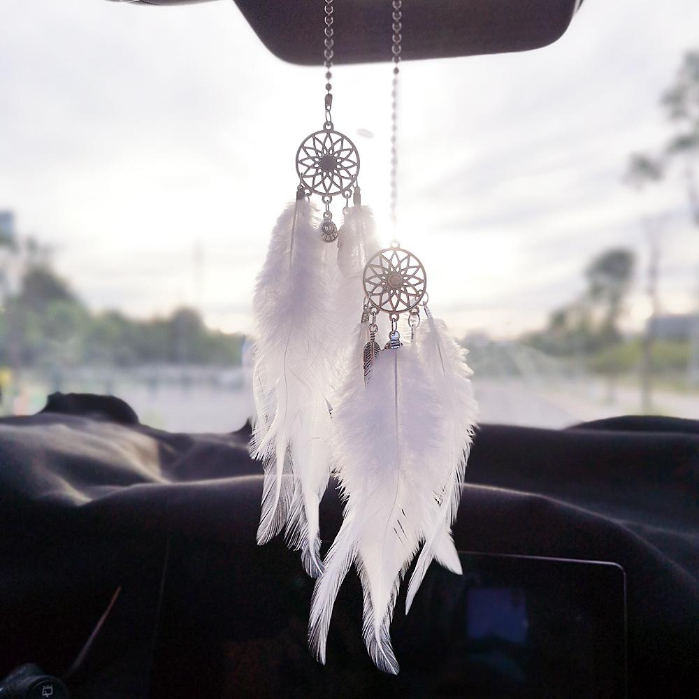 Black YGMONER Mini Dream Catcher Car Interior Rearview Mirror Hanging Decor Nature Feather Small Boho Car Charms Pendant Accessories