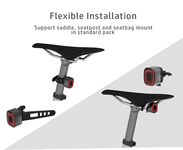 Bicycle Bike Brake Sensing Waterproof LED Smart Rear Tail Light Saddle Seatpost