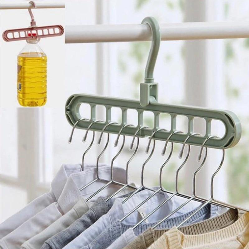 Plastic 9 Holes Rotation Clothes Hanger Hooks Organizer Drying Rack Space Saving