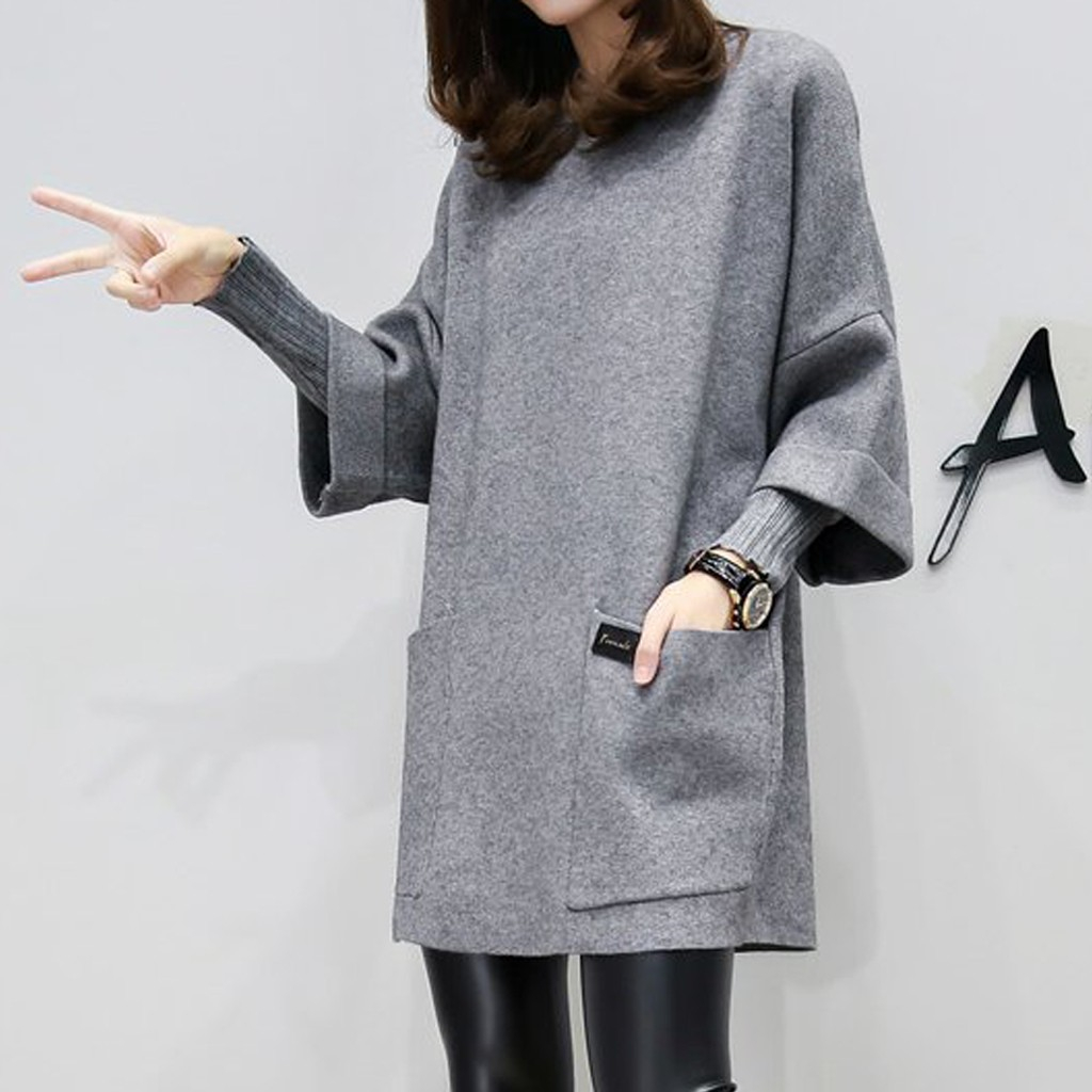 Women Fake Two Pieces Dress Pullover Autumn Fashion Round Neck Long Sleeve Pocket Pure Color Dress Winter Outfits 902