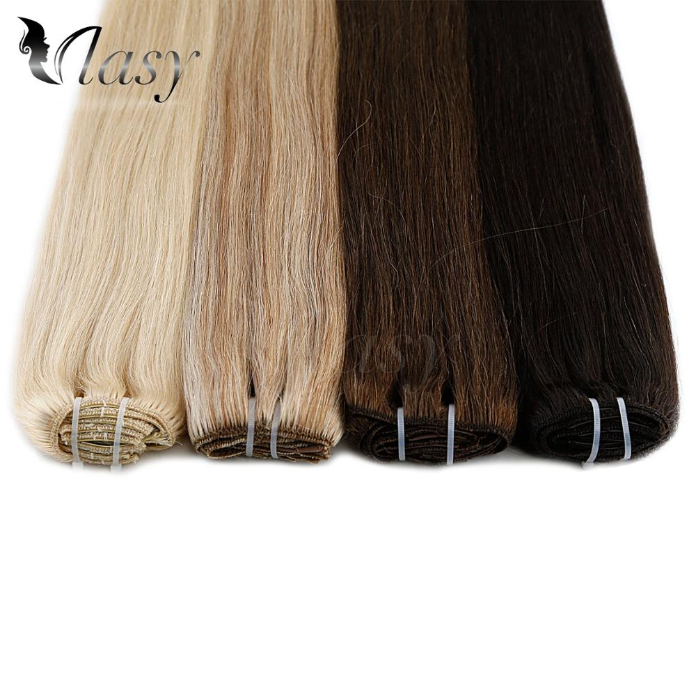 Vlasy Human-Hair-Extensions Clip-In Straight Full-Head Remy Machine-Made 100g/Set 20'' title=