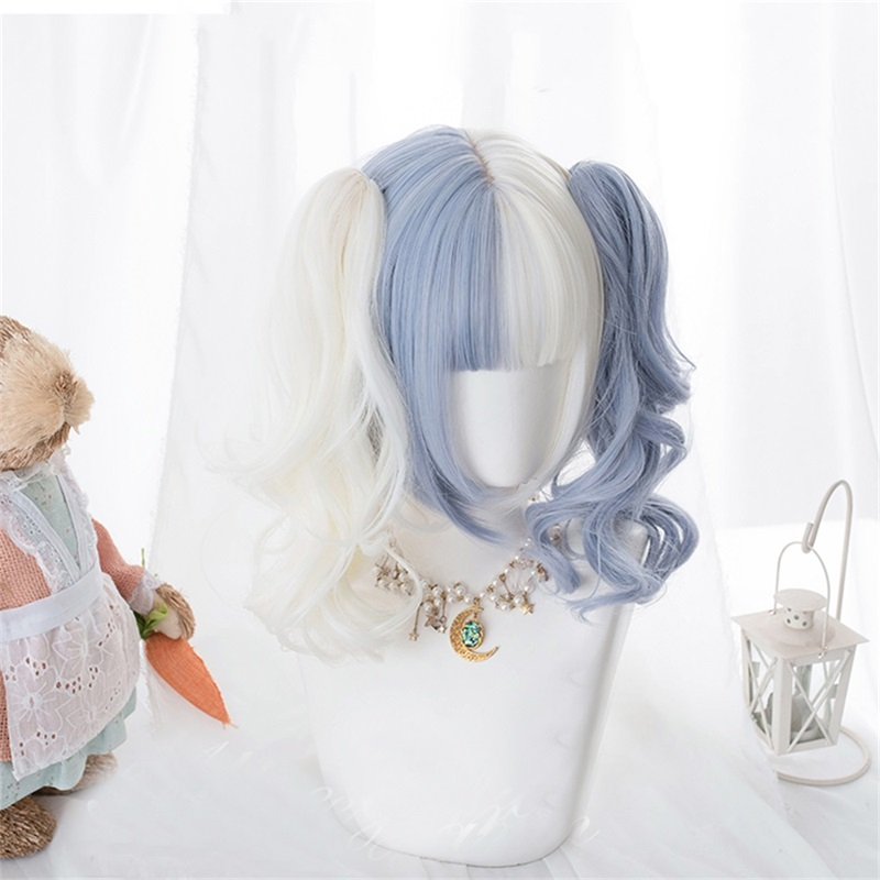 Cosplaysalon Lolita 58CM Long Wavy Blue Mixed White Bob Ombre Bangs Cute Party Synthetic Cosplay Wig 3 Styles