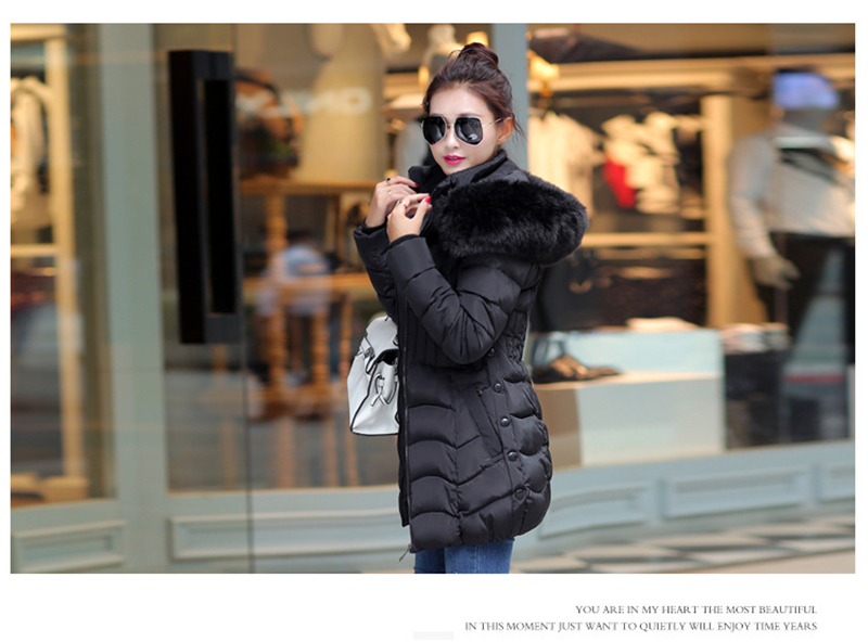 Winter Long Women Coats Parkas Slim Pleated Black Female Coat Outwear Fashion Disassembled Hooded Cotton Women Jackets MLD1271 14