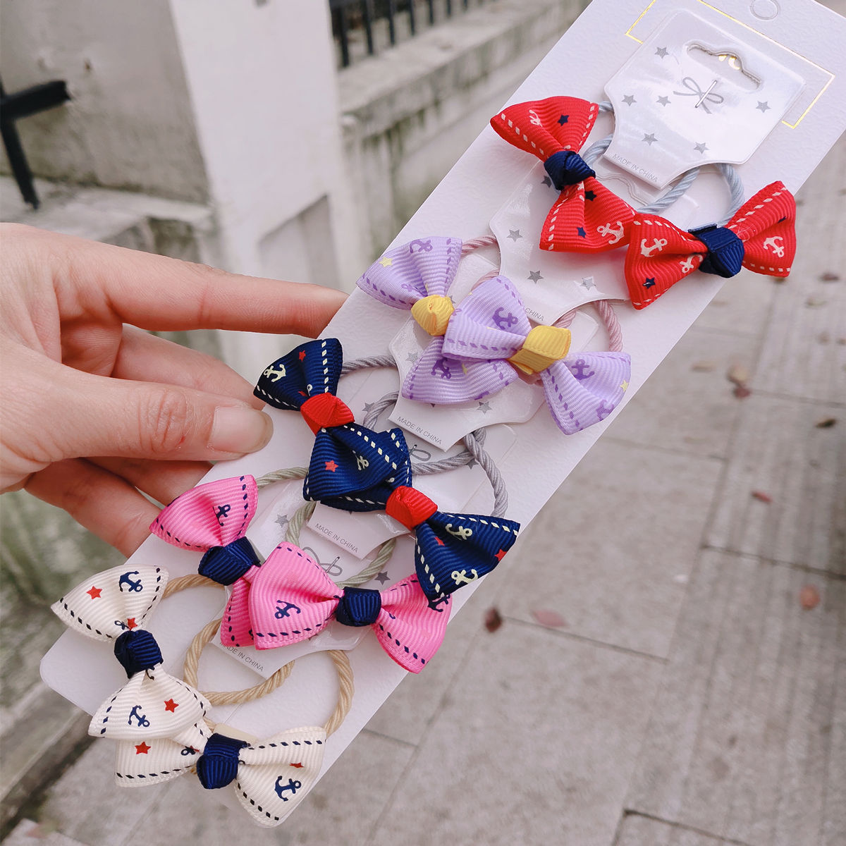 1 set New Cute Ribbon Flowers Scrunchies Children Girls Kids Elastic Hair Rubber Band Accessories Tie Hair Ring Rope Holder