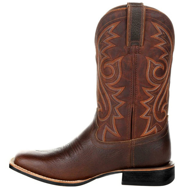 Left-side view of a Brown Western Cowboy Motorcycle Boot