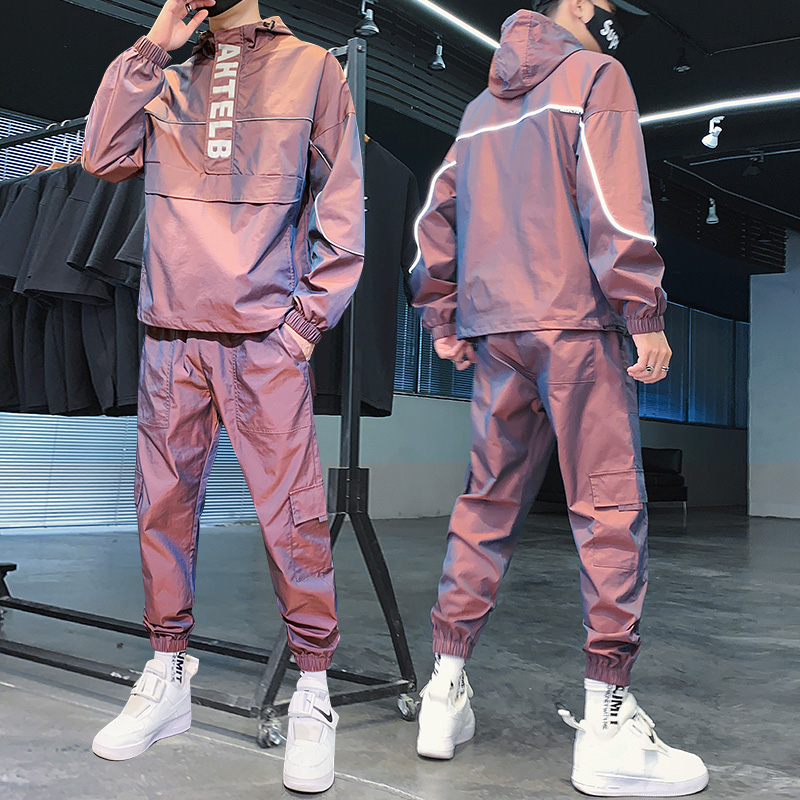 2020 Autumn New Fashion Reflective Tracksuit Men Hooded Sweat Suits 2 Piece Set Men Streetwear Jogger Suits Plus Size M-5XL