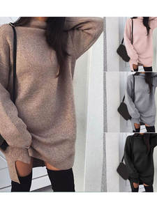 Mini Dresses Sweater Pullovers Turtleneck Knitted Long-Sleeve Bodycon Warm Autumn Winter