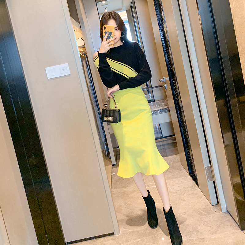 Sring 2020 Two Piece Set O-Neck Contrast Slim Long-sleeved Sweater Mermaid Skirt Set 2 Piece Set Women Outfits Ensemble Femme