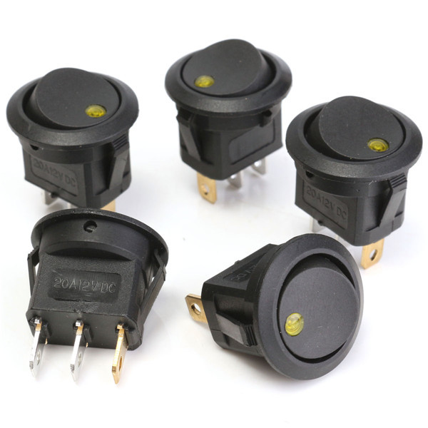 5Pcs 12V Round Rocker Toggle ON /OFF Switch 3 Pins