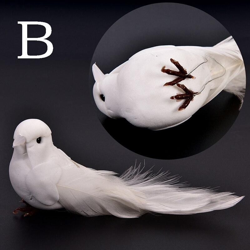 2 PCS Decorative Fake Doves White Artificial Foam Feather Wedding Ornament Home Craft Table Decor Bird Toy Wedding Decor
