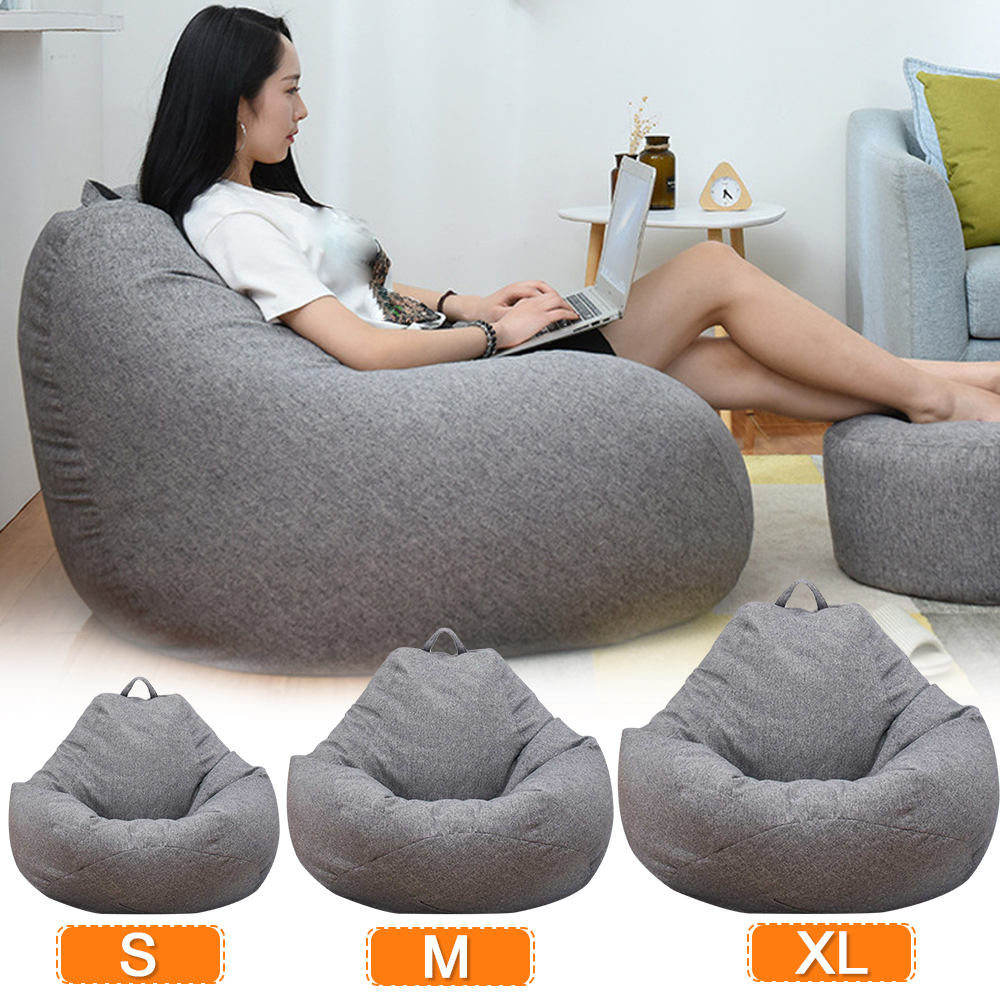 Large Small Lazy Sofas Cover Chairs without Filler Linen Cloth Lounger Seat Bean Bag Pouf Puff Couch Tatami Living Room title=