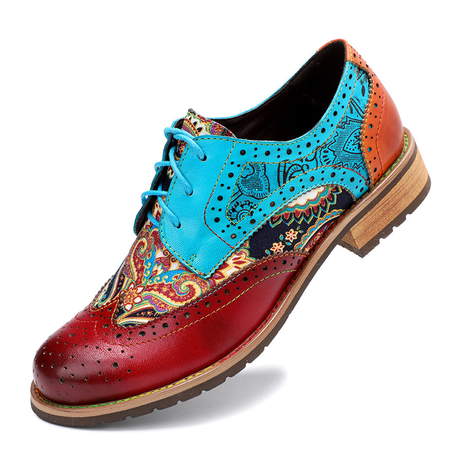 2020 New Spring Casual Women Brogues Shoes Handmade Genuine Leather Women Flats Oxfords Shoes Retro Carved Lace Up  Lady Oxfords (7)