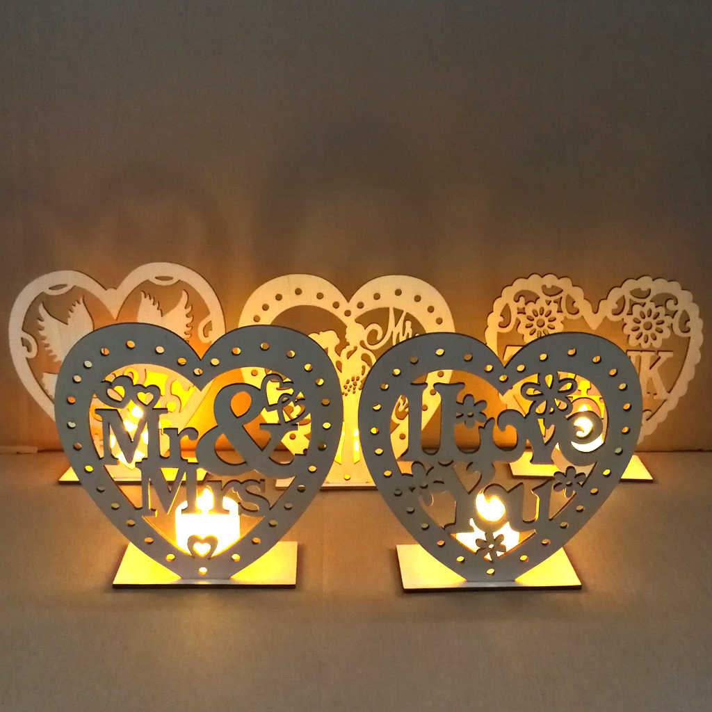 Wedding Valentine's Day Wooden Love Table LED Lighted Candle Party Supplies DIY Accessories Decoration Props Home Decoration