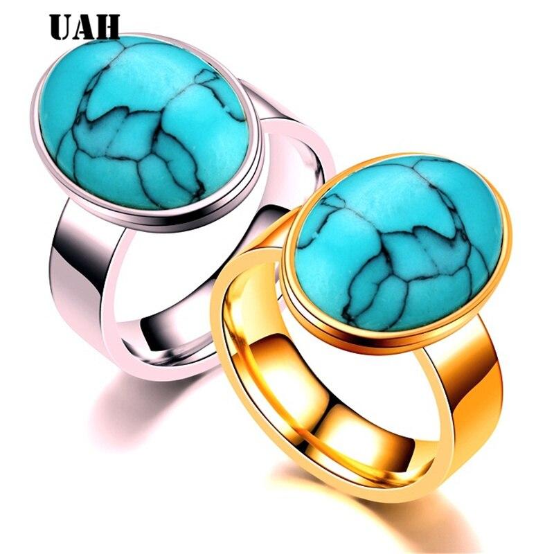 OIDEA Anillo de Acero Inoxidable para Hombre Mujer Unisex Piedra de Turquesa Artificial Joyer/ía Regalo San Valent/ín Compromiso Boda Azul Plata
