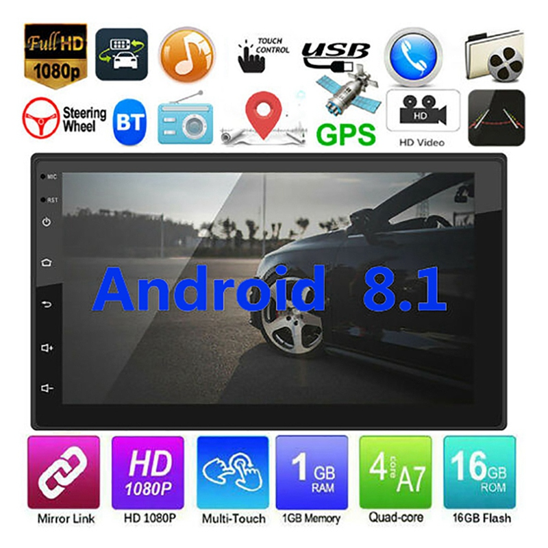 Android 8.1WiFi GPS Navigation 7 Inch 2Din Quad Core Car Stereo MP5 Player FM Radio title=