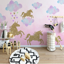 Golden unicorn wall stickers for kids rooms wall decorations living room baby room cartoon Vinyl wall decoration decals
