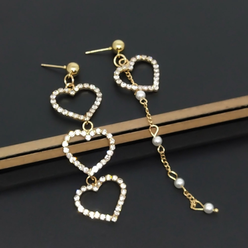 Korean Charm Imitation Pearl Tassel Crystal Love Earrings Ladies Fashion Asymmetric Pendant Earrings
