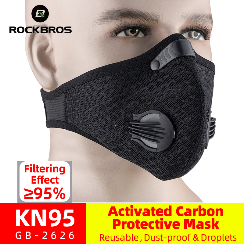 ROCKBROS Cycling Mask KN95 Bike Active Carbon With Filter Dust Mask Breathing Valve Anti-Pollution Running Protective Face Mask title=